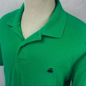 Brooks Brothers green mesh polo shirt Fleece logo
